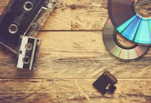 audio cassettes and cd discs and flash cards